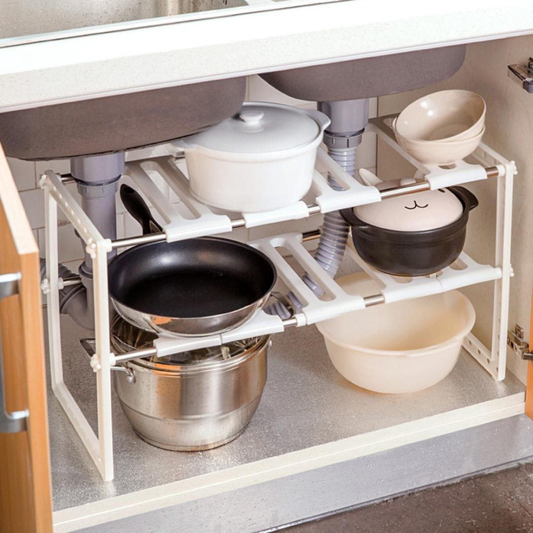 Storage Rack - Iusun Adjustable Shelf Kitchen Home Under Sink Cupboard Storage Organiser Rack Pots Pans Shoes (White)