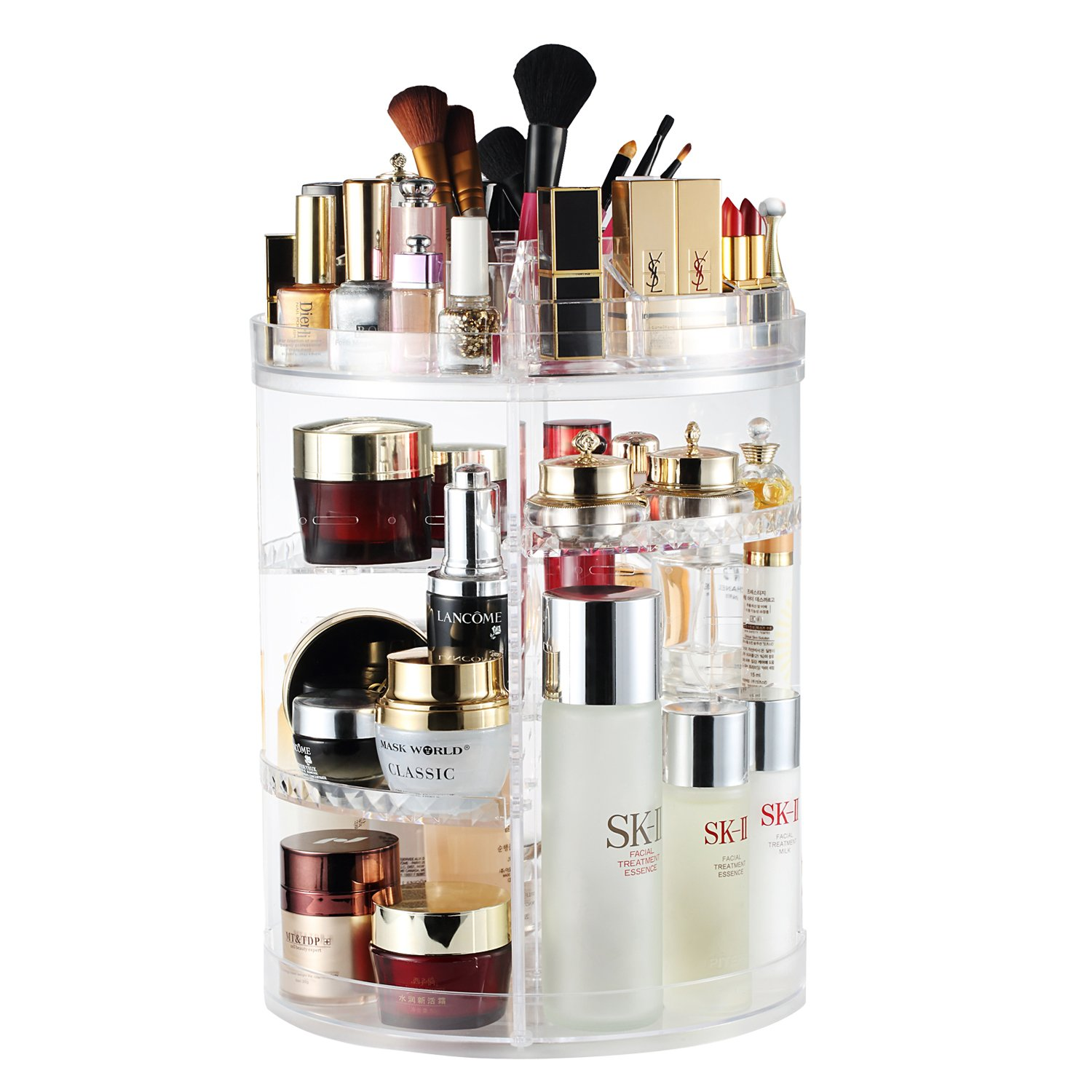 AMEITECH Makeup Organizer, 360 Degree Rotating Adjustable Cosmetic Storage Display Case with 8 Layers Large Capacity, Fits Jewelry,Makeup Brushes, Lipsticks and More, Clear Transparent 360DRMO-CL
