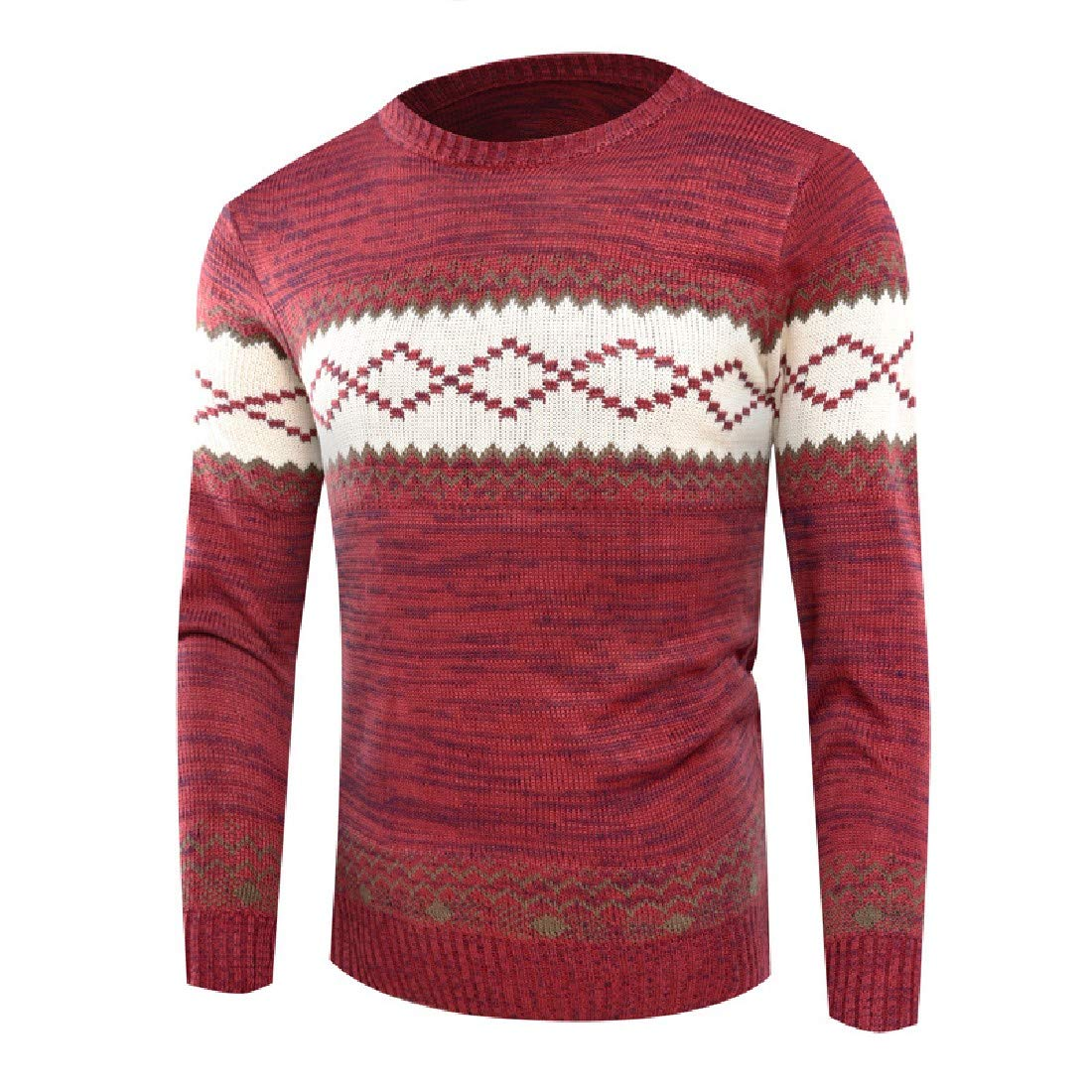 YUNY Men Crewneck Knitting Warm Ethnic Style Pullover Sweater Wine Red S