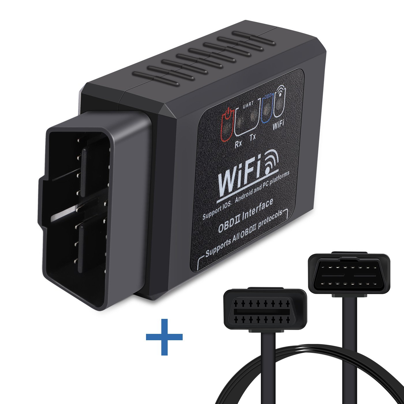 Car WIFI OBD2 Scanner OBDII Code Reader Scan Tool Powertiger Scanner Adapter Check Engine Light Diagnostic Tool for iOS Android Windows With OBD 2 Extension Cable