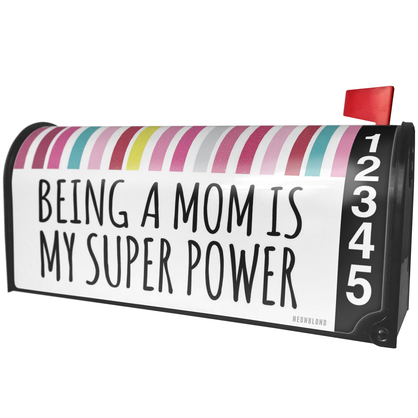 NEONBLOND Being a Mom is My Super Power Mother's Day Colorful Stripes Magnetic Mailbox Cover Custom Numbers