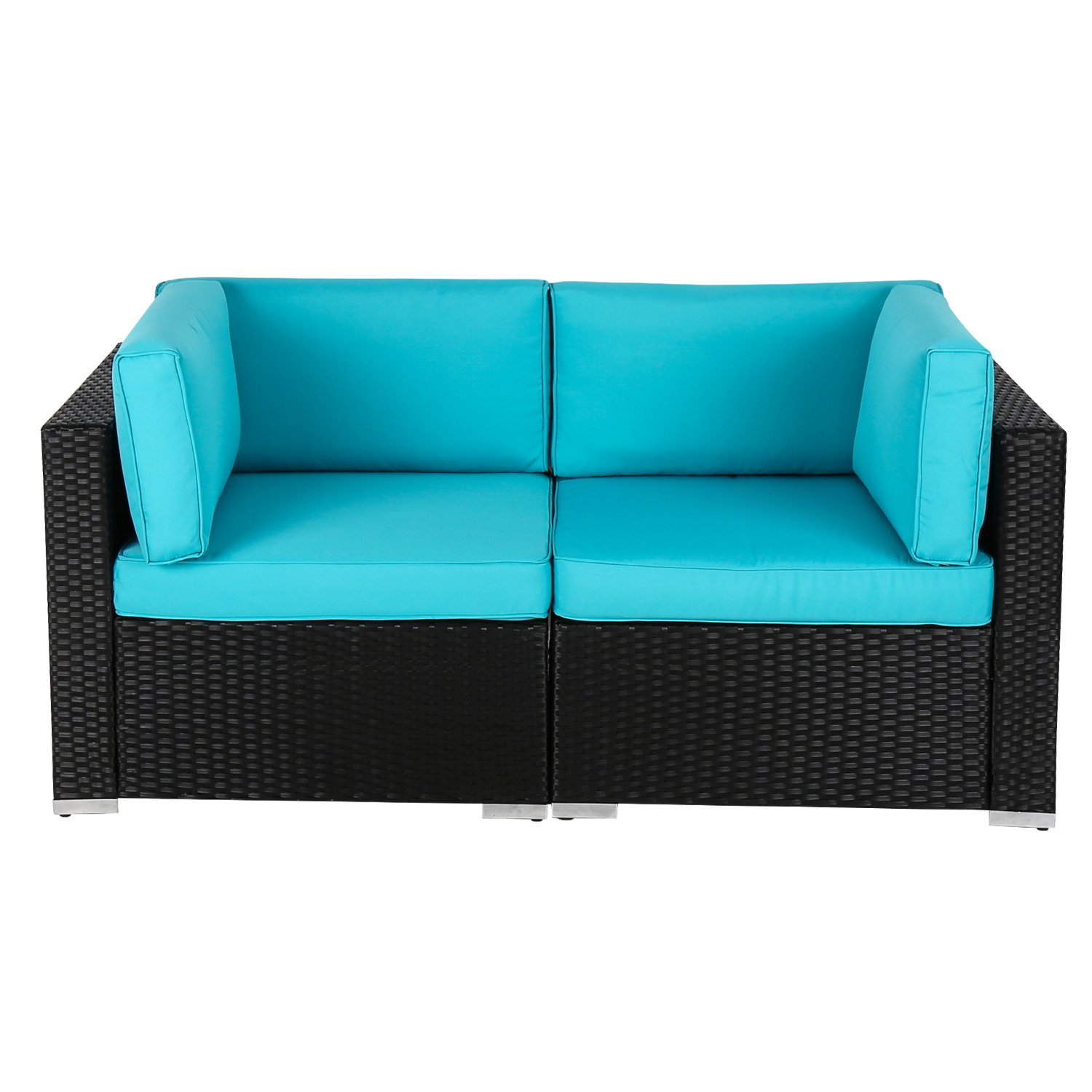 Kinbor Outdoor Garden Wicker Loveseat Sofa (2-Piece Set) PE Rattan Sofa Sectional Furniture Set with Washable Cushions, Blue