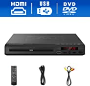DVD Player,Foramor HDMI DVD Player for TV Support 1080P Full HD with HDMI Cable Remote Control USB Input Region Free Home DV
