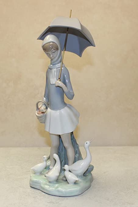 Amazon Com Lladro Girl With Umbrella And Geese Collectible
