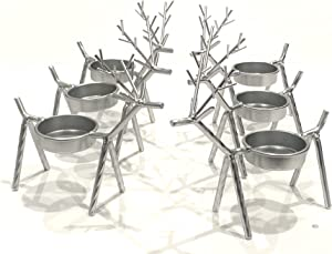USAWAREHOUSE Set of 6 Reindeer Metal Tealight Candle Holders, All-Seasons, All-Year-Long Decor, Both Indoor and Outdoor, Silver Finishing