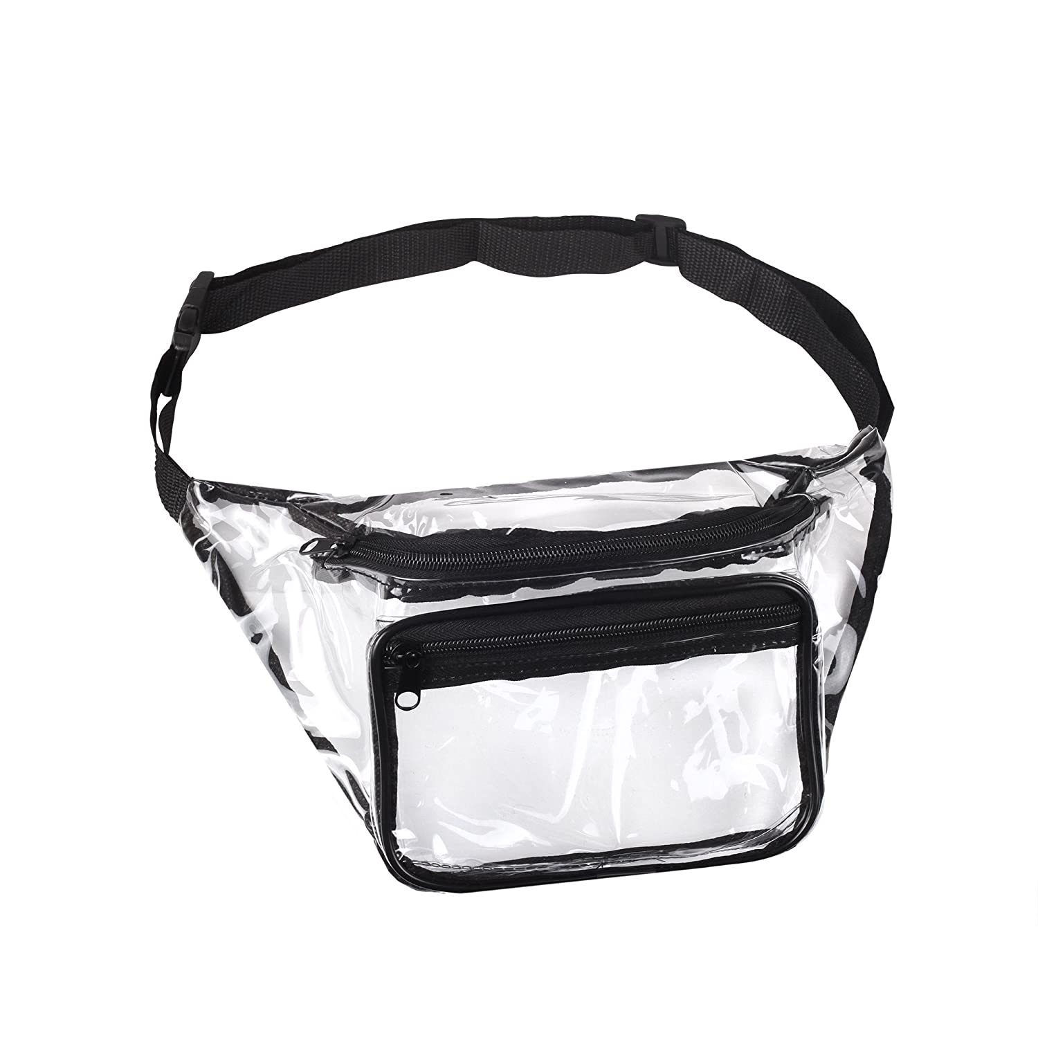3 Pack Transparent Waist Fanny Pack Clear Purse Security Stadium Pockets Adjustable Strap