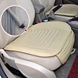 Emazon® PU Leather Bamboo Charcoal Breathable Seat Cushion Cover Pad Mat for Auto Car Office Chair Beige (B)