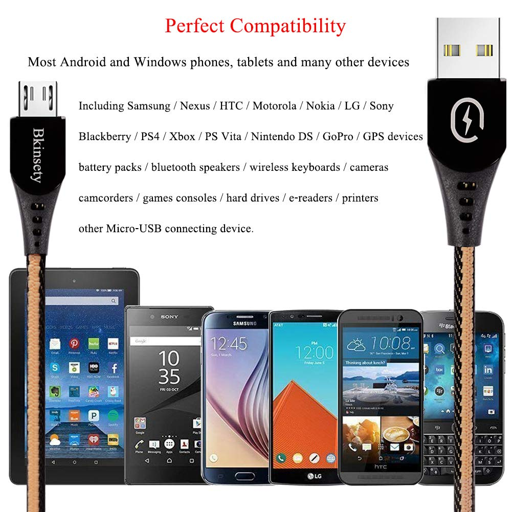 Electrely 3Pack Micro USB Cable for Android, 3ft/6ft/10ft Denim Braided Fast Charger USB Data Cable for Tablets and Smartphones Samsung Nexus Kindle Xbox PS4 Controller Sony Xiaomi Huawei Meizu
