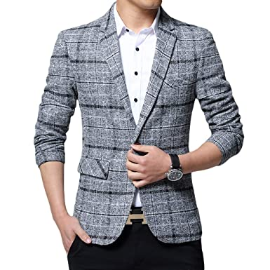 a0224d3e Mens Fashionable Slim Fit Casual Tweed Jacket Wedding Prom Party Checkered Blazer  Jacket at Amazon Men's Clothing store: