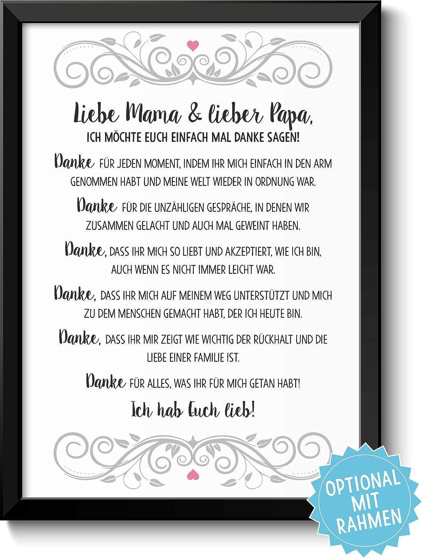 Danksagung Mama Und Papa Bild Optional Mit Holz Rahmen Und Namen Personalisiert Geschenk Geschenkidee Danke Sagen Dankeschön Eltern