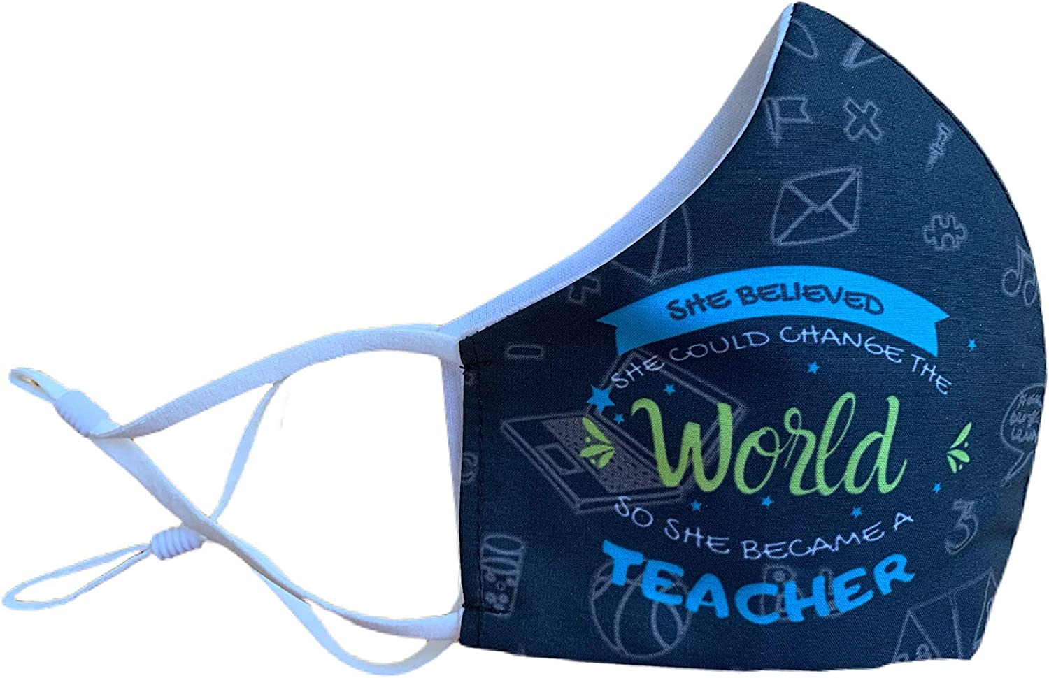 Teacher Mask | Teacher change World | Safety Reusable & Washable Anti Dust Mouth Fashion Balaclava Cover | Breathable Bandanna with Filter Slot | Inside Layer Cotton 100% | Men Women | Back to School