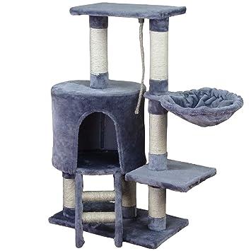 KExing Árbol de Gato Rascador Árbol Trepador Sisal Felpa con Hamaca y Cuerda 96 cm Gris: Amazon.es: Productos para mascotas