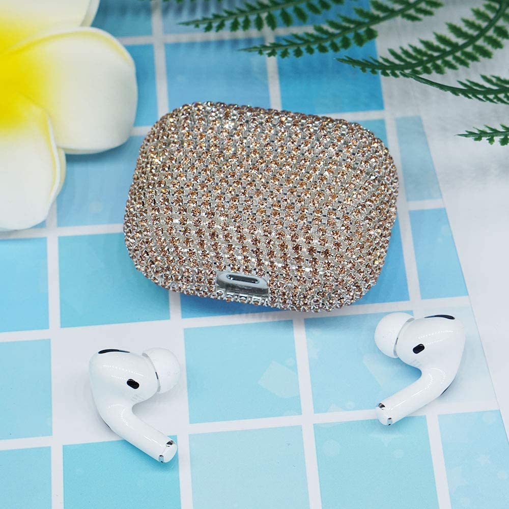 Gold ONGHSD Luxurious Rhinestone Protective Cover for Airpods Pro Case 2019 Bling Diamonds Hard Case Skin Shockproof Protective Case for Apple Airpods Pro 3rd Generation//3 Case Cover
