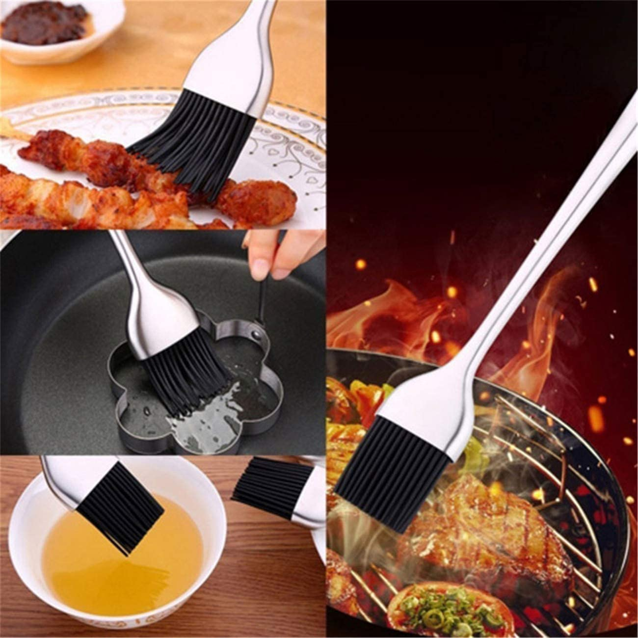 Bigsweety Oil Brush Silicone Long Handle Basting Pastry /& BBQ Brush Durable Use for Grilling and Marinating Cakes Chicken Meat