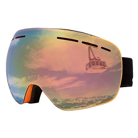 64dd7d614306 Supertrip Ski Goggles Women UV400 Anti-fog Skiing Goggles Frameless Snow  Snowboard Goggles Orange (