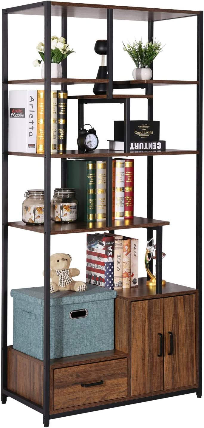 VECELO Bookcase with Drawer/Storage Cabinet,4 Tiers Storage Organizer Bookshelf for Living Room,Home Office,Vintage Black