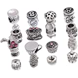 Souarts Silver Color Mixed Rhinestone Flower European Beads for Charms Bracelet