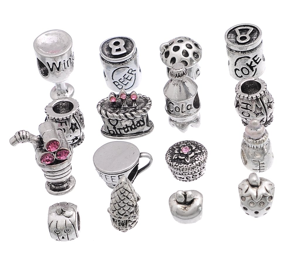 Souarts Silver Color Mixed Food European Beads Fit Charms Bracelet Pack of 16pcs