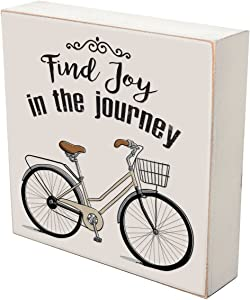 """LifeSong Milestones Find Joy in The Journey Bicycle Wall Art Decor Print Quote Bike Decor for Husband Wife Best Friend Son Daughter Birthday Gift Ideas 6"""" x 6"""" Wall Plaque"""