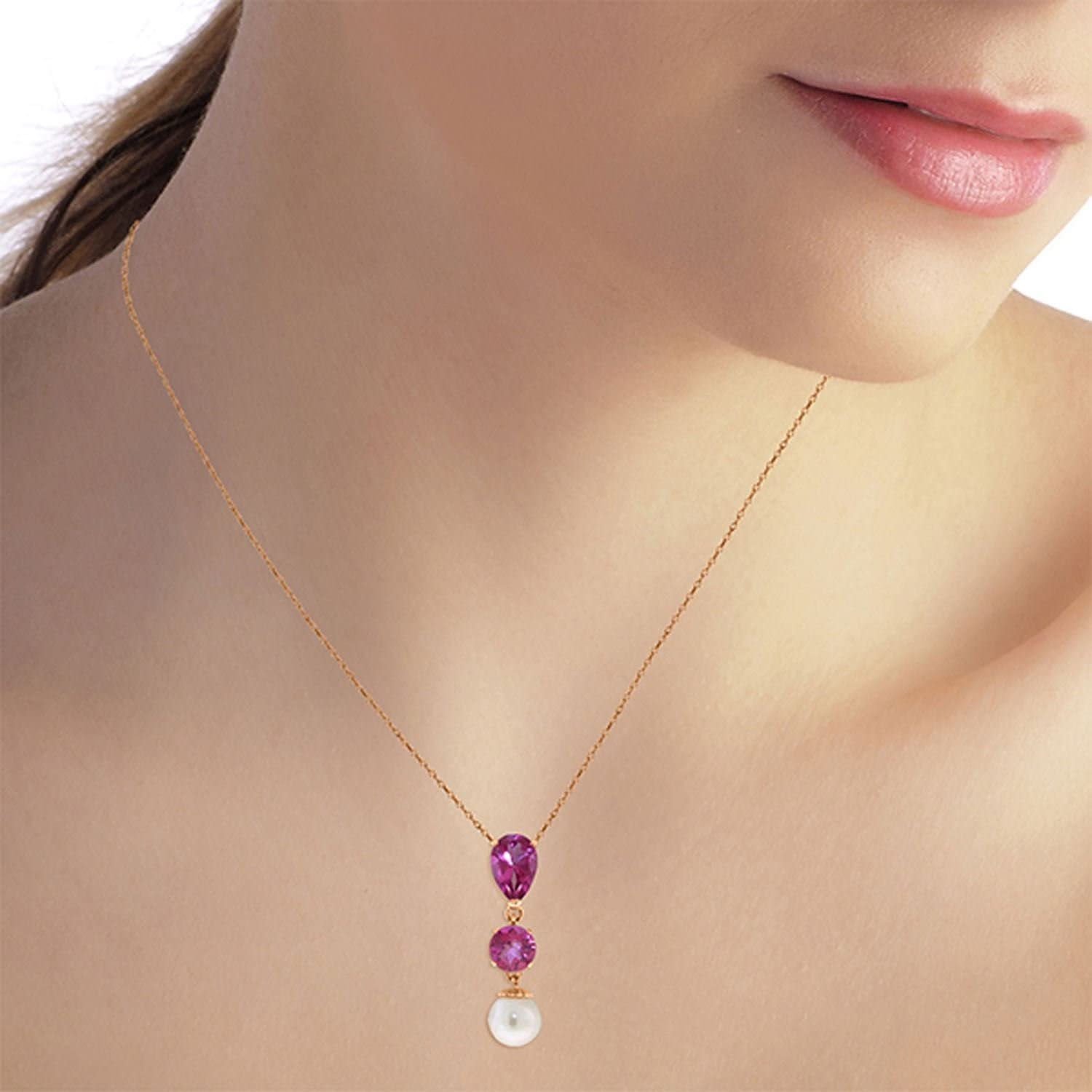 ALARRI 5.25 Carat 14K Solid Rose Gold Necklace Pink Topaz Pearl with 24 Inch Chain Length
