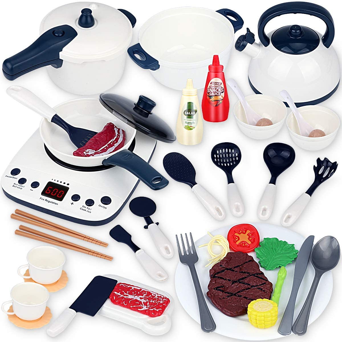 Boogem 40PCS Kids Kitchen Play Toys Set, Kitchen Pretend Toys with Induction Cooktop, Cooking Utensils, Pressure Pots and Pans Cookware Playset, Learning Gift for Toddlers Baby Girls Boys
