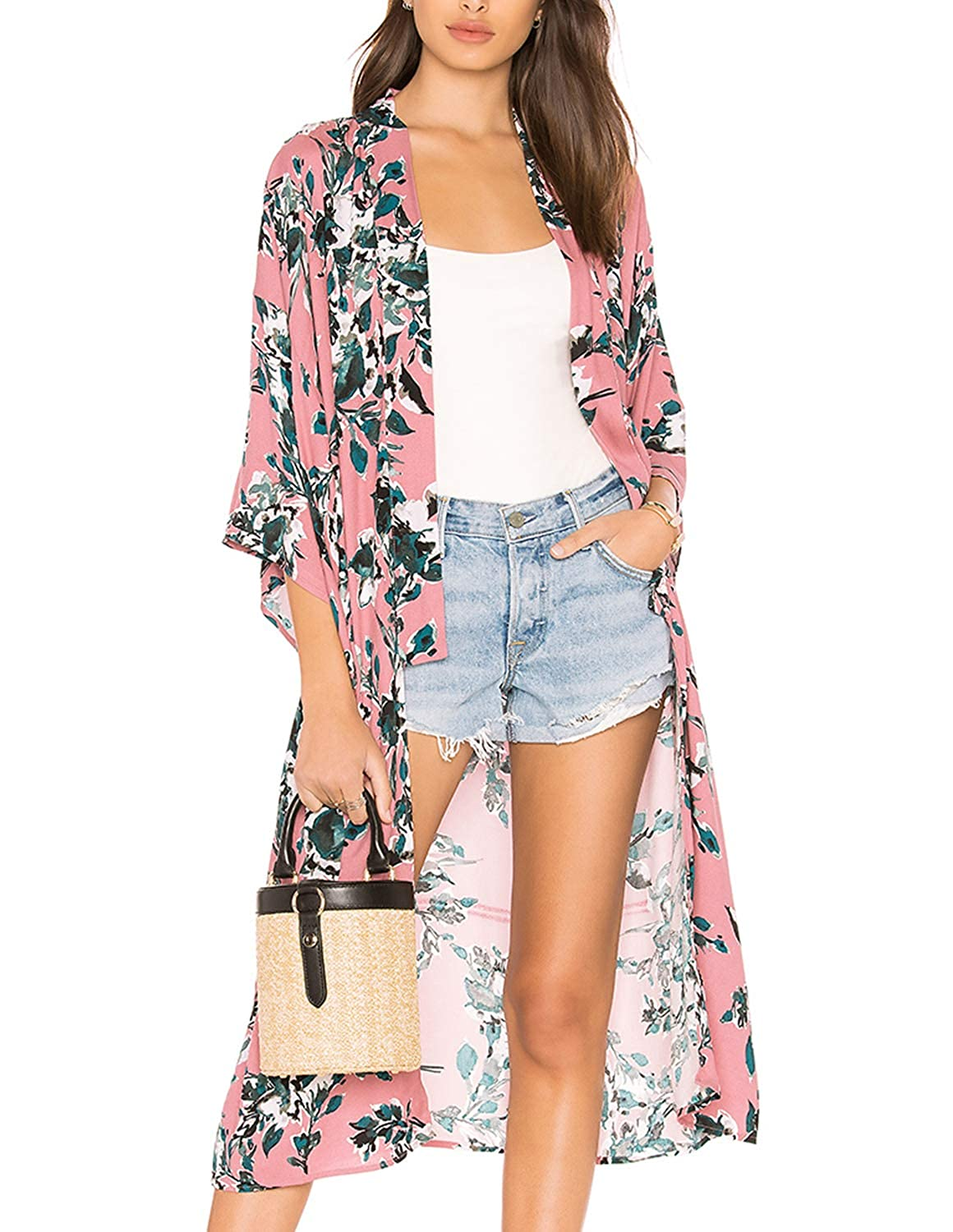 Pink Floral Print Kimonos Cardigans Robe Swimsuit Cover Up for Women