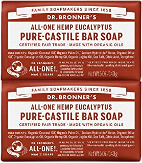 product image for Dr. Bronner's - Pure-Castile Bar Soap (Eucalyptus, 5 ounce, 2-Pack) - Made with Organic Oils, For Face, Body and Hair, Gentle and Moisturizing, Biodegradable, Vegan, Cruelty-free, Non-GMO