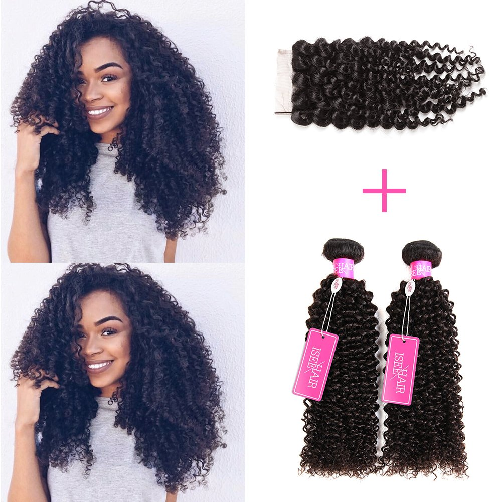 """ISEE Hair Virgin Malaysian Deep Curly Jerry Curly Human Hair 3 Bundles With 4x4 Free Part Lace Closure,100% Unprocessed Human Curly Hair Extensions(14""""&16""""&18""""with 12""""closure)"""
