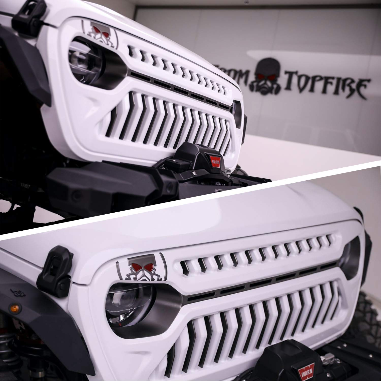 Modifying Front Grill for Jeep Wrangler 2018-2019 JL JLU /& Unlimited Rubicon Sahara Sport Matte Black W//Amber Lights and Wiring Harness