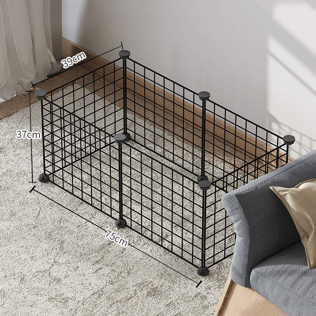 75x39x37cm Pet Playpen Small Animal Crate Portable Animal Cage Indoor, Exercise Pen Yard Fence for Guinea Pig, Rabbits,(Black)
