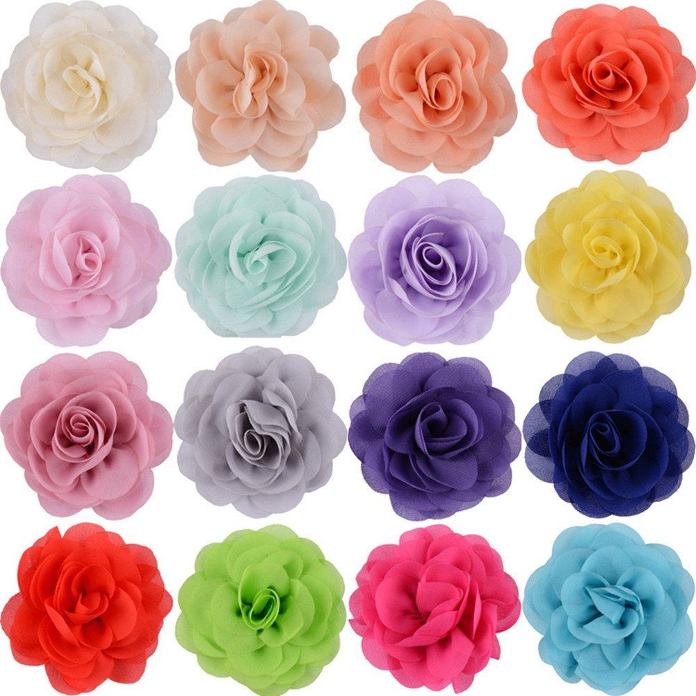 Ademoo 16 Colors Chiffon Flowers Baby Girls DIY Headbands Accessories (16 pieces)