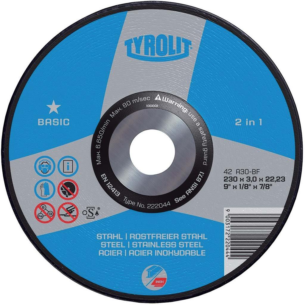 Basic Durchmesser 230 mm St/ärke 3 mm Tyrolit 223002 Trennscheibe 25-er Pack Stahl//Inox 2in1