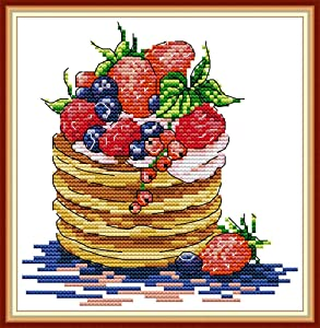 Cross Stitch Embroidery Kits for Adults Kids, WOWDECOR Strawberry Cake Dessert Food 11CT Stamped DIY DMC Needlework Easy Beginners (Dessert)