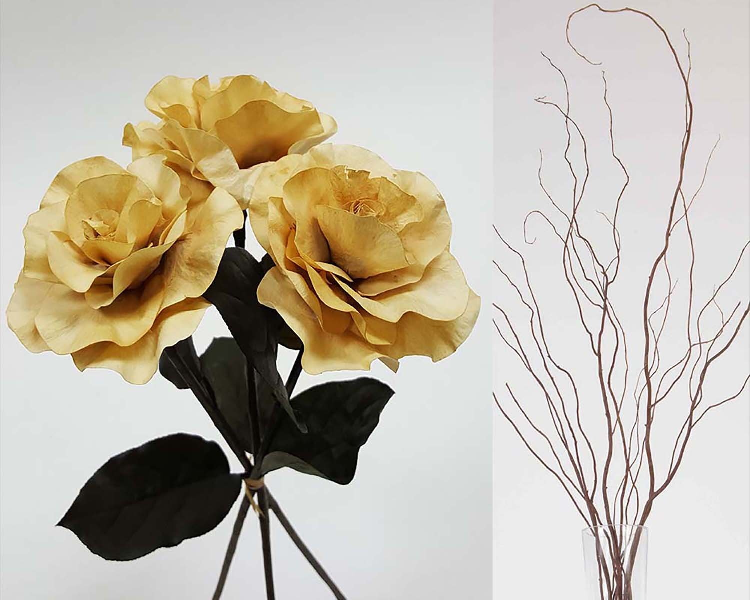 GreenFloralCrafts Curly Willow and Burmese Roses- Ivory Parchment