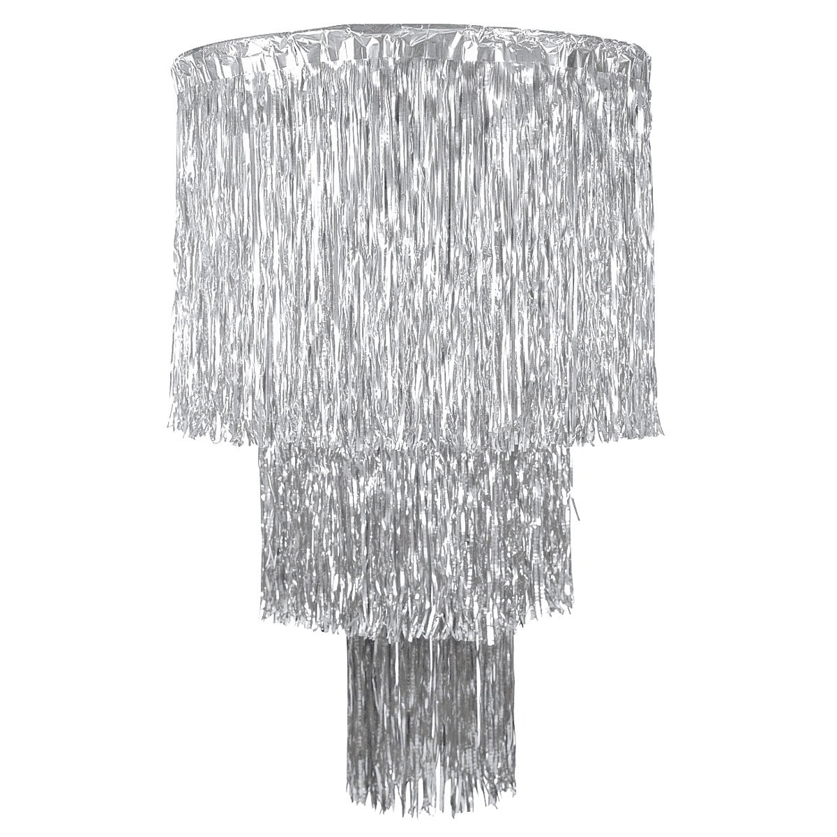 Silver Three-Tier Metallic Fringe Chandelier Prom Decoration, 48 Inches High x 33 Inches Wide