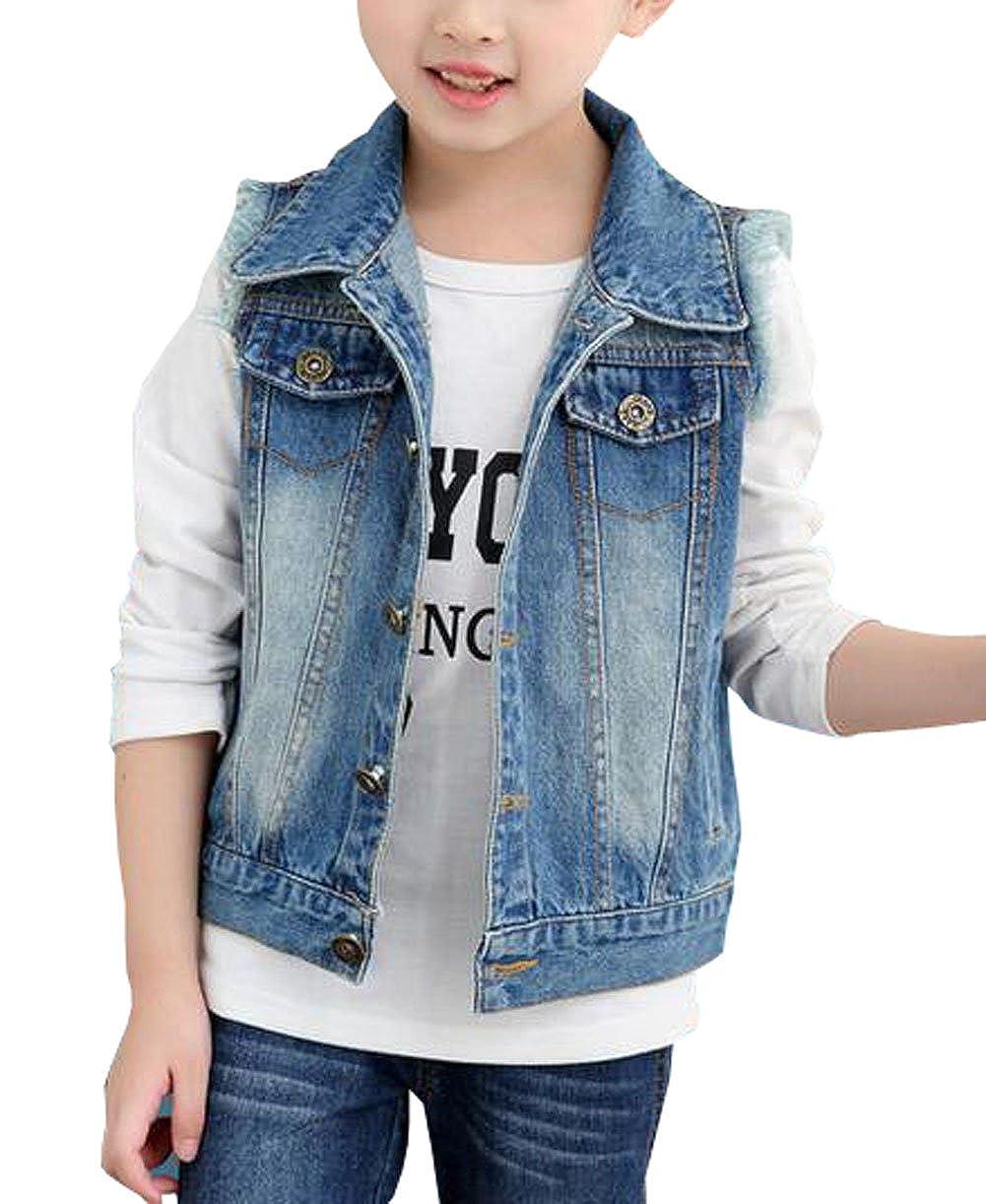 MYtodo Girls Lapel Vest Children Short Section Sleeveless Denim Jacket