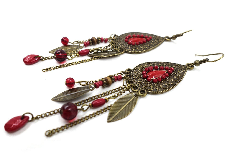 Eternity J. Women Vintage Retro Ethnic Drop Bohemian Dangle Earring Lolita Antique Bead Tassel Earrings 5