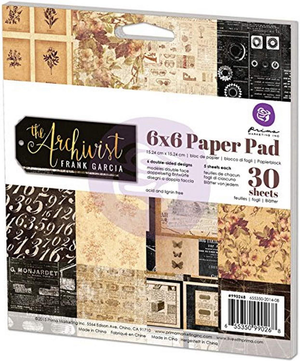 Prima Marketing Double-Sided Paper Pad 6X6 30//Pkg-Midnight Garden 6 Designs//5 Each