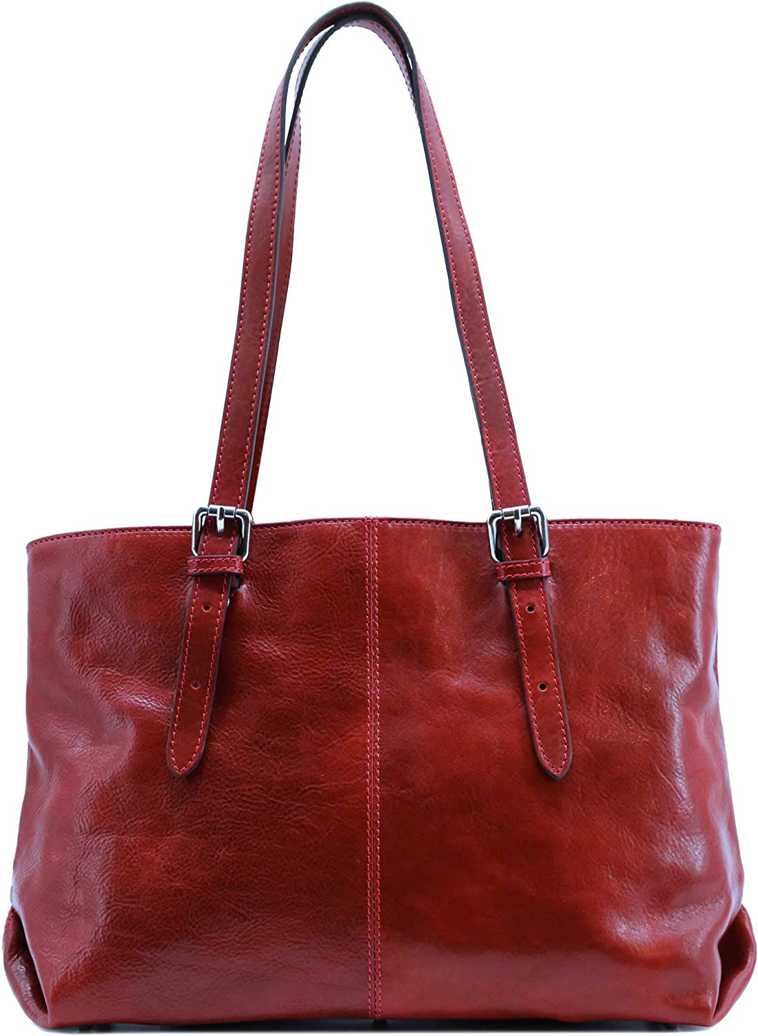 Floto Venezia Italian Leather Shopping Tote Bag Shoulder Bag Women's (Tuscan Red)