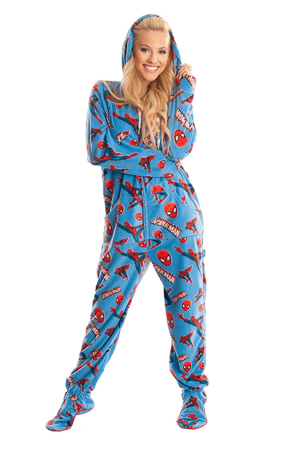 18c74bf5e664 Amazon.com  Spider Man Marvel Blue Unisex Adult Footed Onesie Pajamas for  Men and Women (L)  Clothing