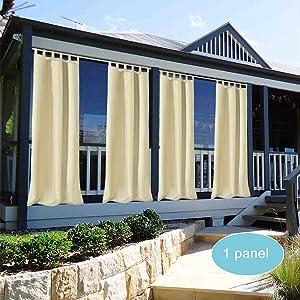 Shatex Outdoor/Indoor Patio Curtains W50xL120 Inch, Multi-Functional Waterproof Beige Tab Top