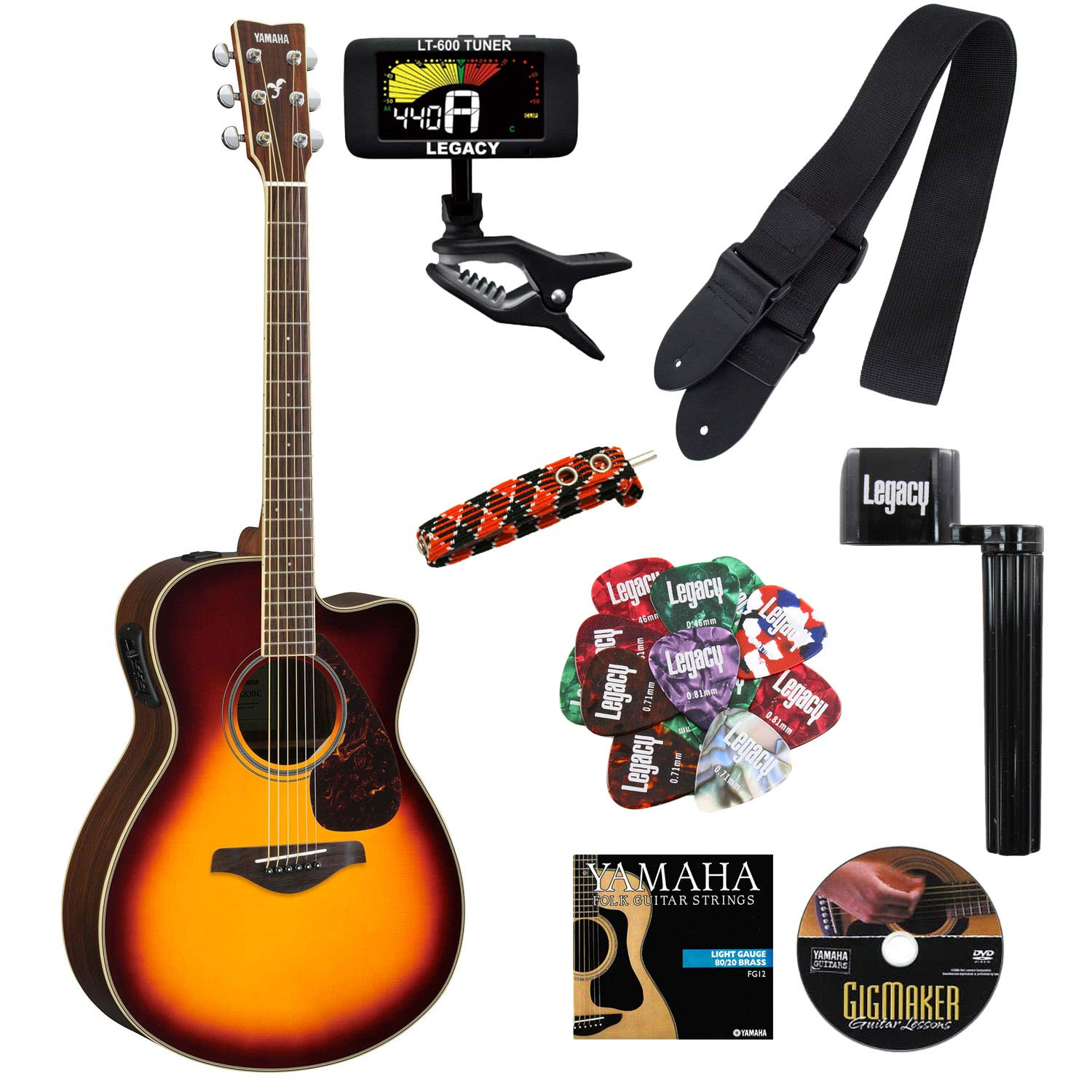 Amazon.com: Yamaha FSX830C Small Body Cutaway Acoustic-Electric Guitar, Solid Top, Rosewood Back and Sides, with Legacy Accessory Bundle: Musical ...