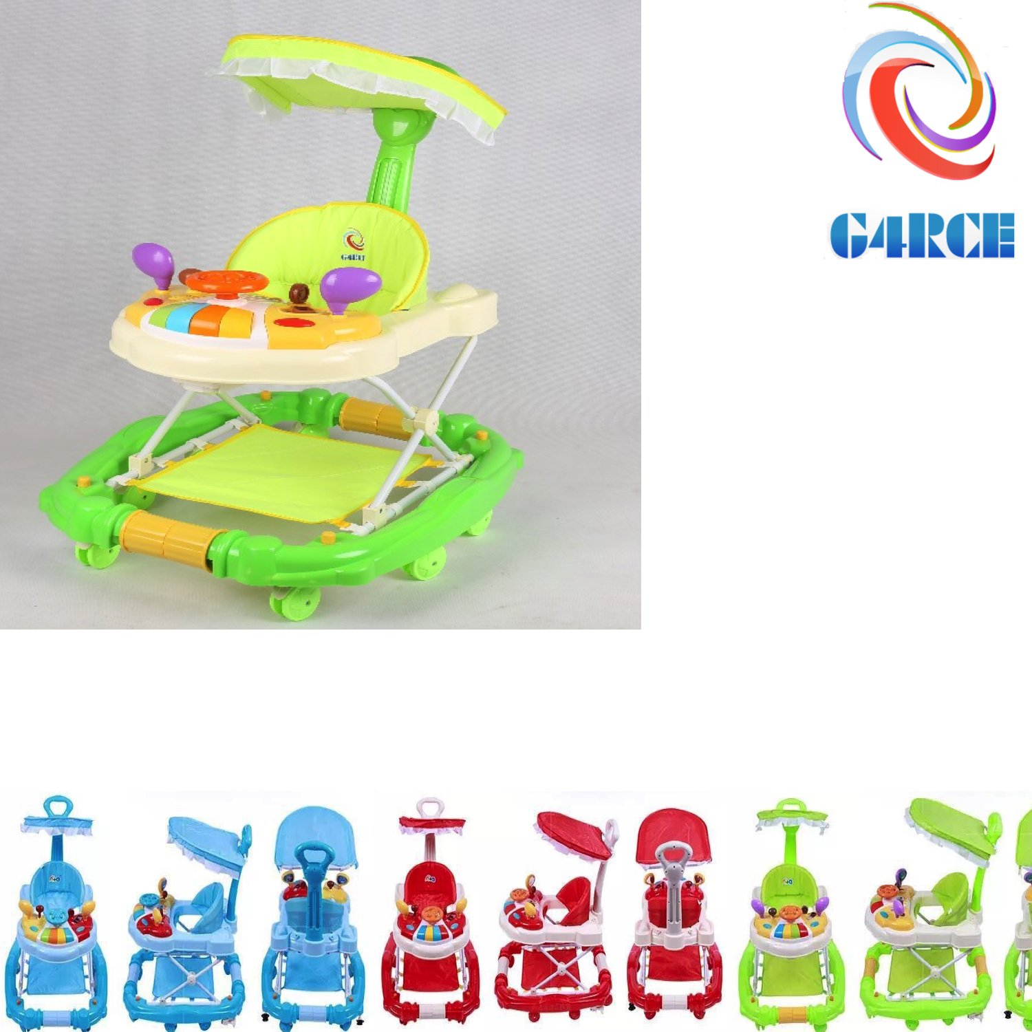 G4RCE® 3 in 1 Baby Walker Activity First Steps Car Theme Toy Adjustable Heights UK (Blue)