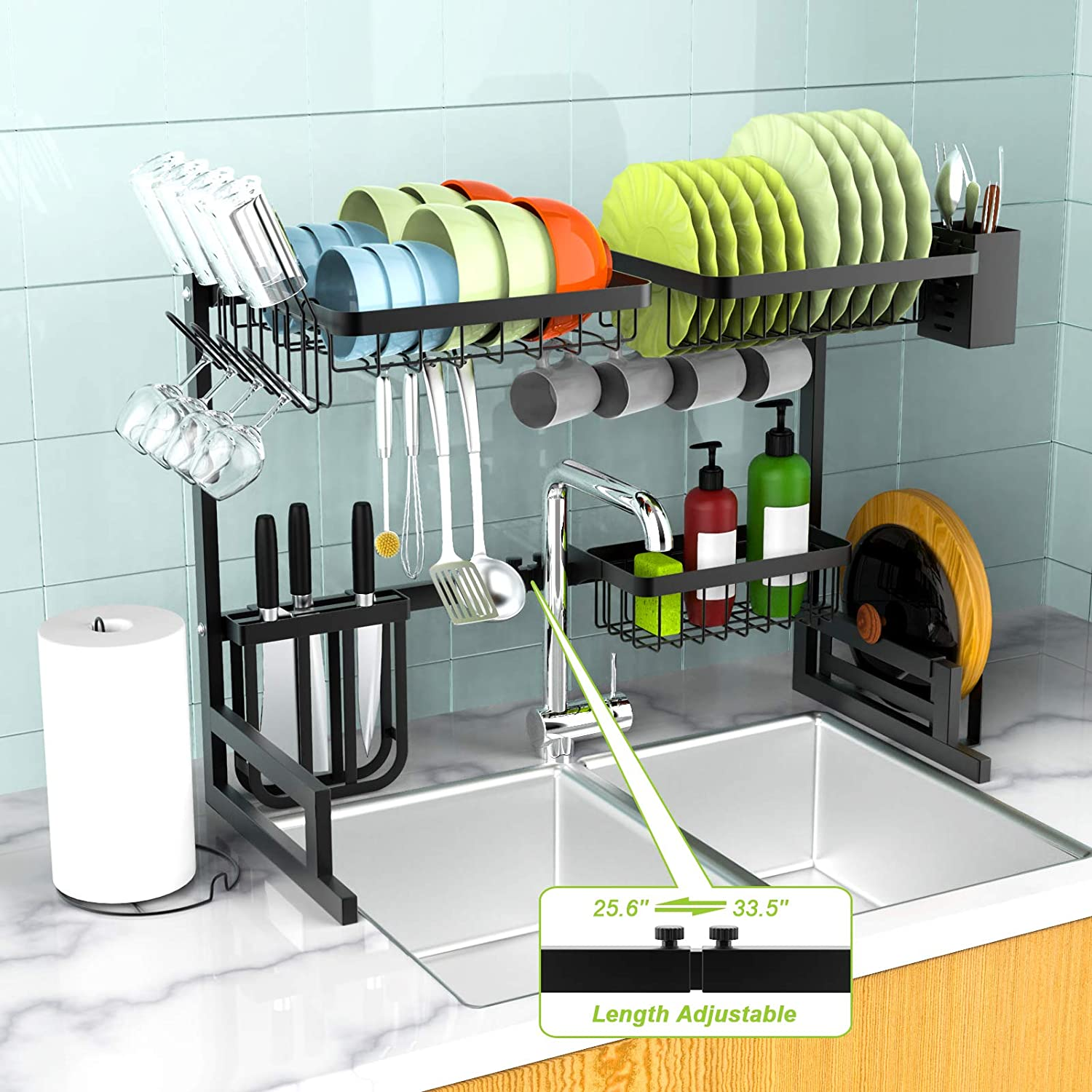 Over The Sink Dish Drying Rack - MERRYBOX Adjustable 2-Tier Stainless Steel Dish Dryer Rack Over Sink, Large Kitchen Dish Drying Rack with 8 Hook for Home Kitchen Counter (24.4≤ Sink Size ≤ 32.3 inch)