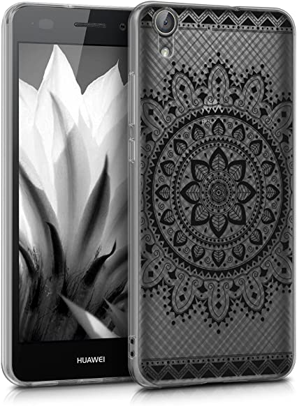 kwmobile Cover Compatibile con Huawei Y6 II - Custodia in Silicone TPU - Backcover Protettiva Cellulare Fiore Azteco Nero/Trasparente