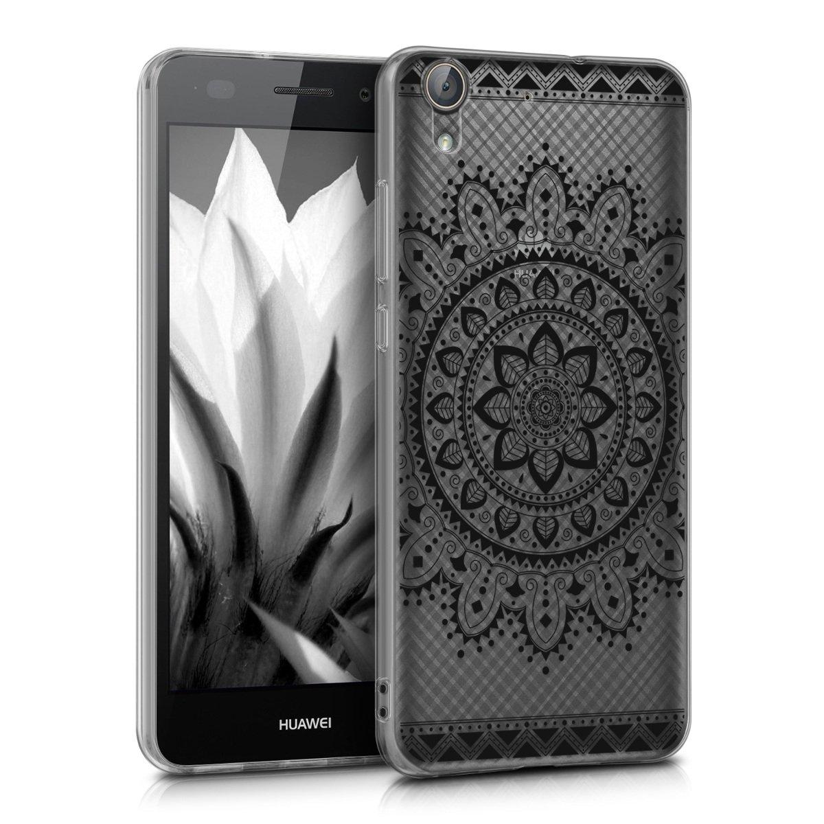 kwmobile Funda para Huawei Y6 II - Carcasa de [TPU] para móvil y diseño de Flores Aztecas en [Negro/Transparente]