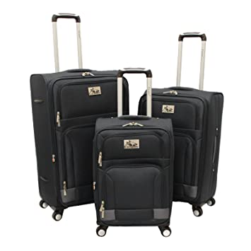 a4b7803f4abd Chariot Genoa 3-Piece Lightweight Upright Spinner Luggage Set, Black Grey
