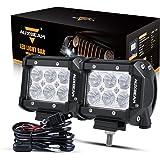 "Auxbeam 4"" LED Pods 18W LED Light Bar Flood Beam LED Off Road Driving Lights with Wiring Harness for SUV ATV UTV Trucks…"