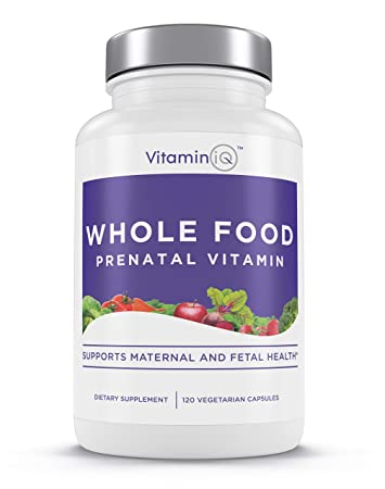 VITAMINIQ Whole Food Prenatal Vitamins, Organic Non-GMO Ingredients - Eases Morning Sickness with