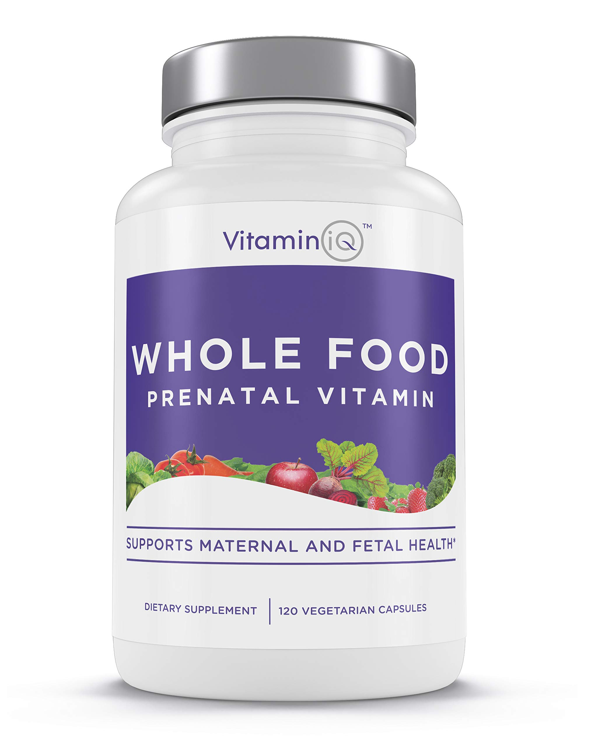 VitaminIQ Whole Food Prenatal Vitamins | Natural Supplement Support for Maternal & Fetal Health | Healthy Baby | Healthy Mom | Non-GMO | Vegetarian | Gluten Free | 120 Capsules